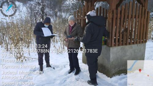 Fig.1.Măsurători ale calității apei freatice din localitatea Teceu Mic în peisaj de iarnă