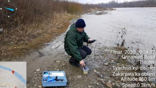 Masurarea oxigenul dizolvat, saturație în oxigen, presiunii de oxigen din apa râului Tisa în Sighetul Marmației